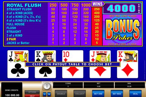 bonus poker microgaming